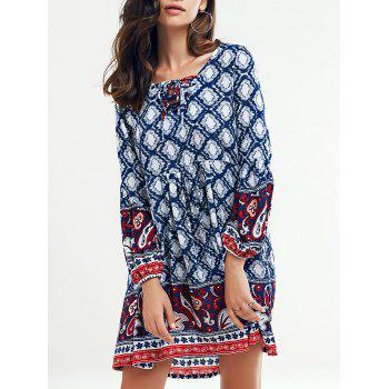 Tribal Printed Lace Up Long Sleeve Dress