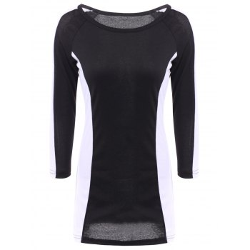 Scoop Neck Long Sleeves Color Splicing Dress For Women