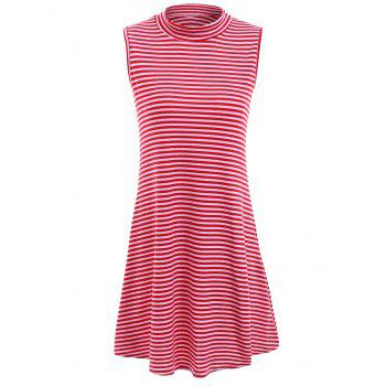 Fresh Style Stand-Up Collar Sleeveless Striped Loose Women's Dress