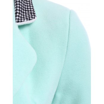 Houndstooth Splicing Worsted Lapel Neck Long Sleeve Trendy Style Women's Coat - AZURE S