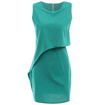 Chic Round Collar Sleeveless Zippered Pure Color Women's Dress