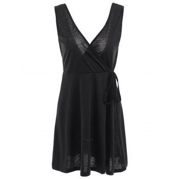 Sexy Women's V-Neck Sleeveless Backless Mini Dress - BLACK XL