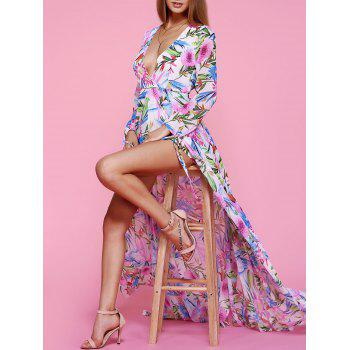 Charming Plunging Neck Floral Print High Slit Women's Dress