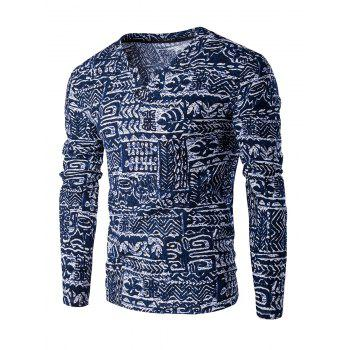 Buttons Design Abstract Ethnic Style Pattern V-Neck Long Sleeve Men's T-Shirt