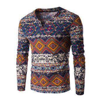 Color Block Ethnic Style Pattern V-Neck Long Sleeve Men's T-Shirt