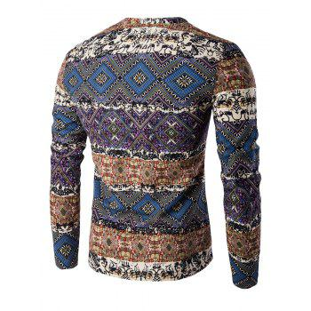 Color Block Spliced Ethnic Style Pattern V-Neck Long Sleeve Men's T-Shirt - DEEP BLUE 2XL