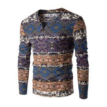 Color Block Spliced Ethnic Style Pattern V-Neck Long Sleeve Men's T-Shirt