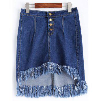 Button Fringe Hi Low Denim Skirt