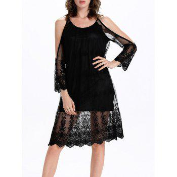 Split Sleeve Tulle Spliced Cutout Translucent Dress - BLACK BLACK