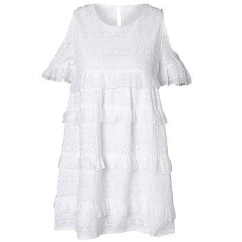 White Hollow Out Flounce Embroidered Mini Dress