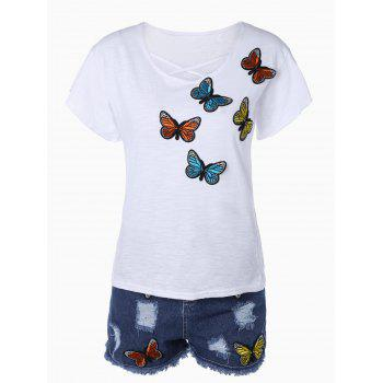 Butterfly Embroidered T-Shirt + Mini Ripped Denim Shorts