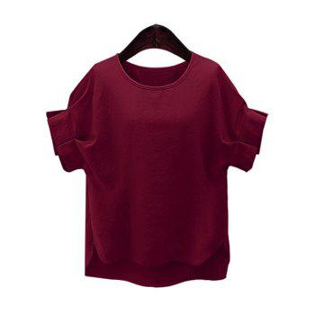 Plus Size Short Sleeve Ruffled Women's T-Shirt - WINE RED WINE RED