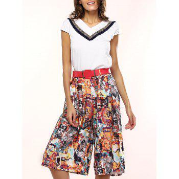 Stylish Women's V-Neck Top and Printed Culottes Set