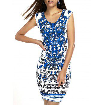 Stylish Women's Scoop Neck Printed Bodycon Dress