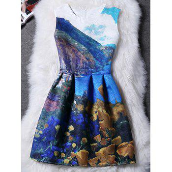Trendy Round Collar Sleeveless Abstract Printed Women's Dress