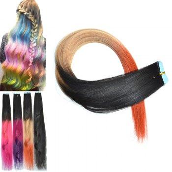 Stylish Three Color Gradient Traceless Straight Human Hair Extension For Women