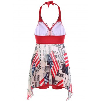 Flag Print Halter Neck Irregular Hem  Two Piece Swimsuit - RED S
