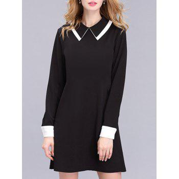 Brief Flat Collar Color Block Dress