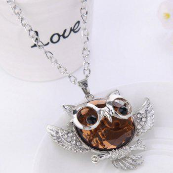 Faux Crystal Rhinestone Hollow Out Owl Shape Necklace