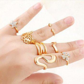 A Suit of Hollow Out Geometric Floral Star Zigzag Rings