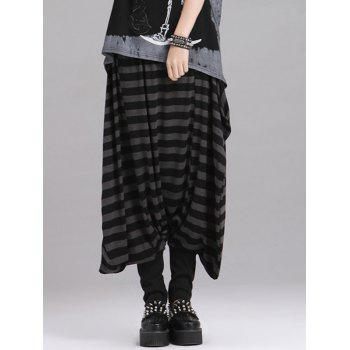 Loose Fitting Striped Drop Crotch Women's Baggy Pants