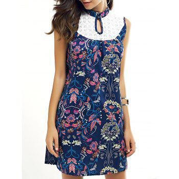 Ladylike Keyhole Neck Lace Splicing Dress