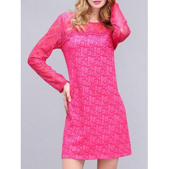 Chic Women's Embroidered Lace Spliced Mini Dress