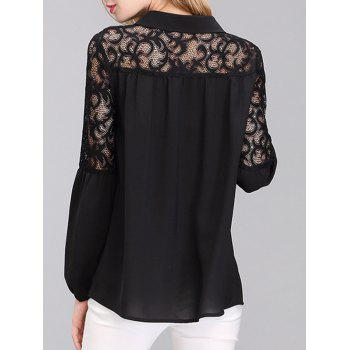 Brief Women's Puff Sleeves Lace Spliced Chiffon Blouse - BLACK XL