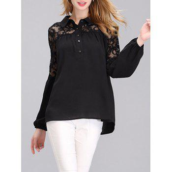 Brief Women's Puff Sleeves Lace Spliced Chiffon Blouse