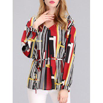 Elegant Women's Abstract Print Cuff Ruffled Chiffon Blouse