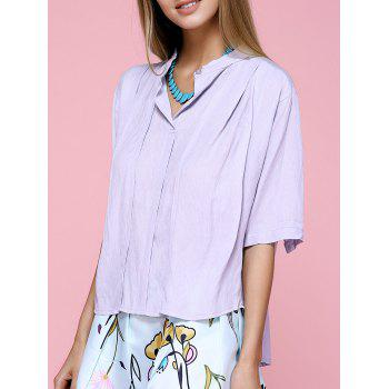 Brief Stand Collar Short Sleeve Lavender Shirt