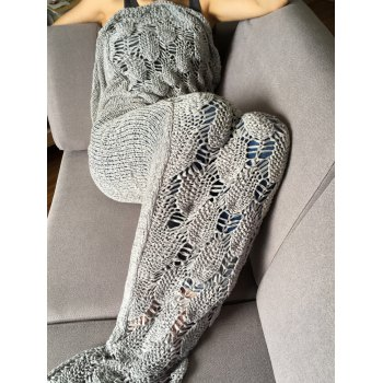 High Quality Knitted Scale and Tassels Design Mermaid Tail Shape Blanket