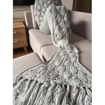 High Quality Knitted Scale and Tassels Design Mermaid Tail Shape Blanket - GRAY