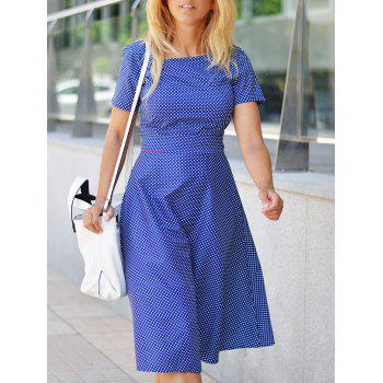 Vintage Polka Dot Print Belted Midi Dress For Women