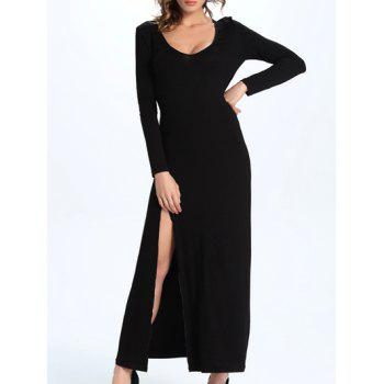 Chic Scoop Neck High Slit Slimming Women's Dress