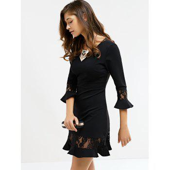Graceful Flare Sleeve Lace Black Dress For Women - S S