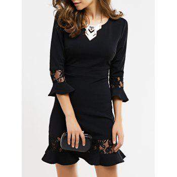 Graceful Flare Sleeve Lace Black Dress For Women