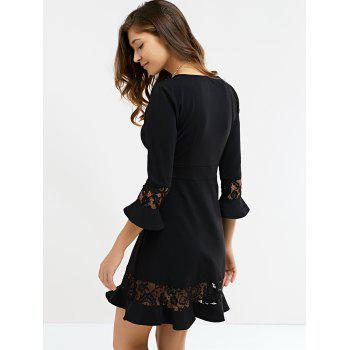 Graceful Flare Sleeve Lace Black Dress For Women - BLACK S