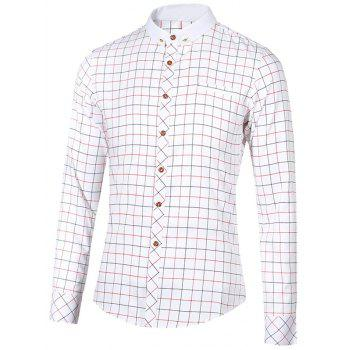 Stand Collar Checked Button-Down Long Sleeve Men's Shirt