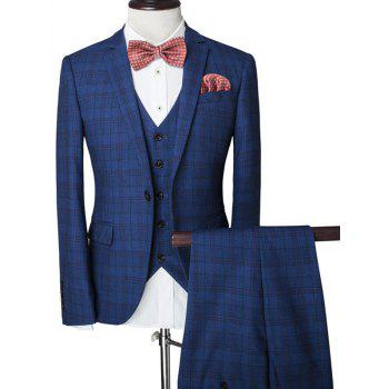 Plaid Single Breasted Lapel Long Sleeve Men's Three-Piece Suit ( Blazer + Waistcoat + Pants )