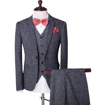 Buy Swallow Gird Single Breasted Lapel Long Sleeve Men's Three-Piece Suit ( Blazer + Waistcoat Pants ) GRAY