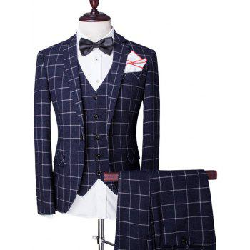 Buy Checked Pattern Single Breasted Lapel Long Sleeve Men's Three-Piece Suit ( Blazer + Waistcoat Pants ) CADETBLUE