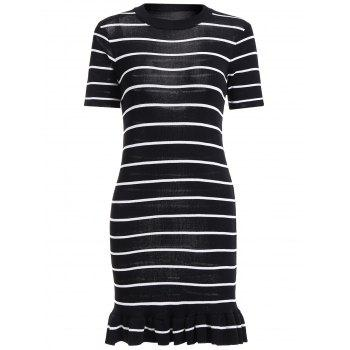 Striped Short Sleeve Mermaid Knit Dress