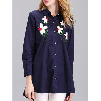Stylish Flower Embroidered Long Shirt