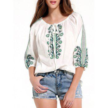Vintage 3/4 Sleeve Embroidered Blouse