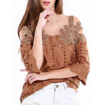 Vintage Hollow Out Solid Color Blouse
