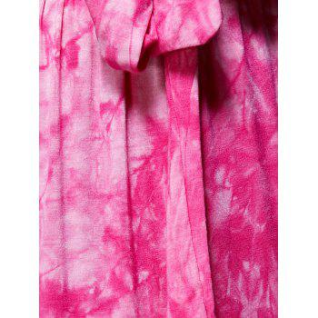 Stylish Women's Tie Dyed High Slit Skirt - ROSE RED L