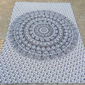 Ethnic Style Indian Elephant Totem Yoga Mat Gypsy Cotton Tablecloth Beach Throw Scarf - BLACK
