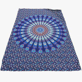 Ethnic Style Deep Blue Mandala Yoga Mat Gypsy Cotton Tablecloth Beach Throw Shawl Wrap Scarf