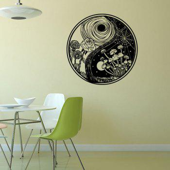 Stylish Eight Diagrams Shape Landscape Pattern Round Wall Sticker - WHITE/BLACK